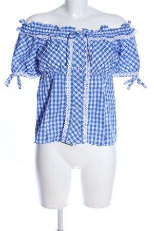 Esmara Kurzarm-Bluse blau-weiß Karomuster Elegant
