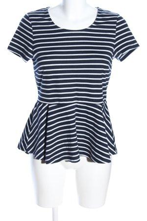 Esmara Kurzarm-Bluse weiß-schwarz Streifenmuster Casual-Look