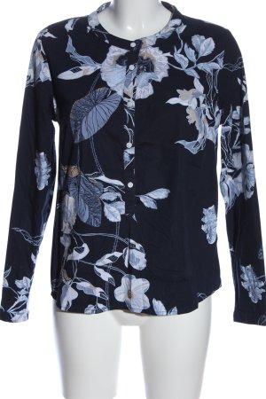 Esmara Langarm-Bluse schwarz-blau Blumenmuster Casual-Look