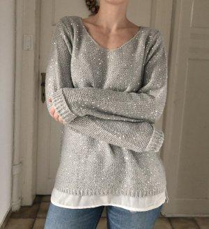 Esmara Pullover Oversized hellgrau silver Pailletten 36 S - Versandkostenfrei