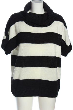 Esmara Rollkragenpullover weiß-schwarz Streifenmuster Casual-Look