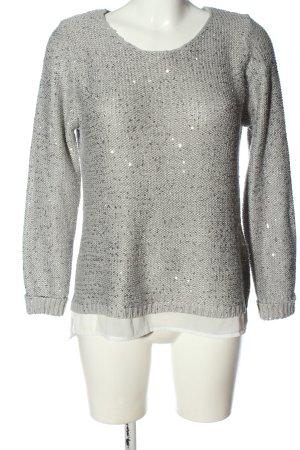 Esmara Rundhalspullover hellgrau-weiß Glanz-Optik