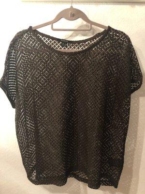 Esmara Gehaakt shirt zwart bruin-donkerbruin