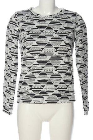 Esmara Sweatshirt weiß-schwarz grafisches Muster Casual-Look
