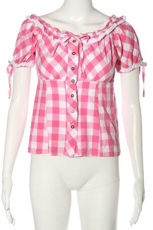 Esmara Trachtenbluse pink-weiß Allover-Druck Casual-Look