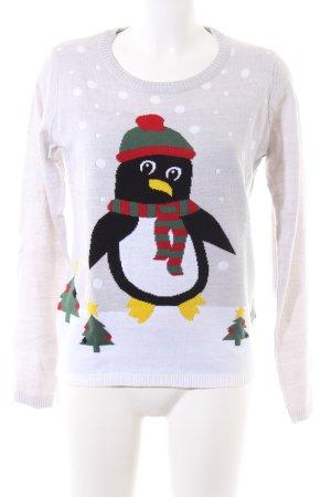 Esmara Weihnachtspullover weiß-wollweiß Motivdruck Casual-Look