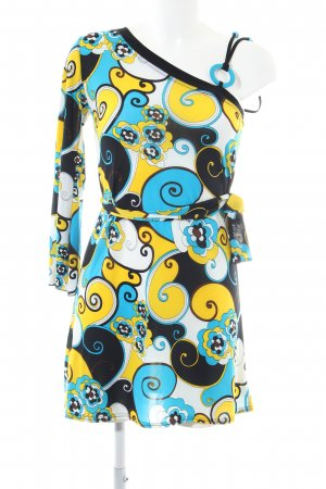 Espace One Shoulder Dress abstract pattern casual look