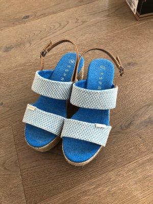 Esprit Alpargatas blanco-azul neón