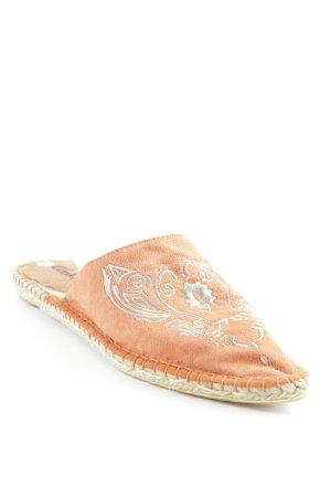 Espadrilles-Sandalen orange-beige Stickerei-Detail