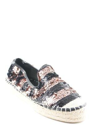 Espadrilles-Sandalen schwarz-roségoldfarben Streifenmuster Casual-Look