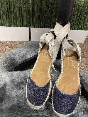 Maypol Sandały klinowe na obcasie jasnobeżowy-niebieski