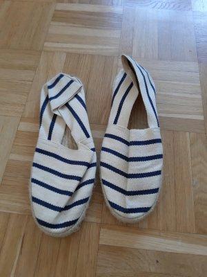 Espadrille sandalen wit-donkerblauw