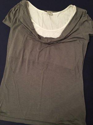ESPRIT 2in1 T-Shirt Bluse mit Wasserfallausschnitt. NEU. Gr. M, dunkelgrau