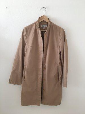 Esprit 36 Mantel minimalistisch clean Sommer cool elegant beige Sand Stehkragen Knöpfe Versteckte seitliche Taschenmit Reißverschluss must have zeitlos