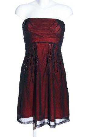 Esprit A-Linien Kleid rot-schwarz Glanz-Optik