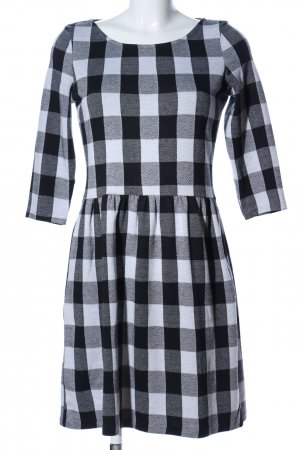 Esprit A-Linien Kleid weiß-schwarz Karomuster Casual-Look