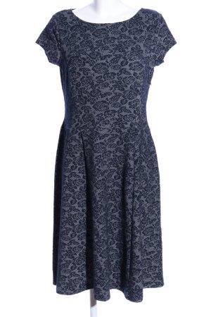 Esprit A-Linien Kleid hellgrau-schwarz Allover-Druck Business-Look