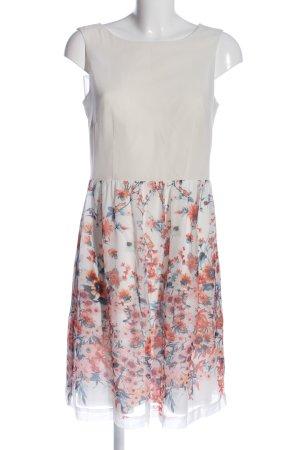 Esprit A-Linien Kleid weiß-hellorange Blumenmuster Casual-Look