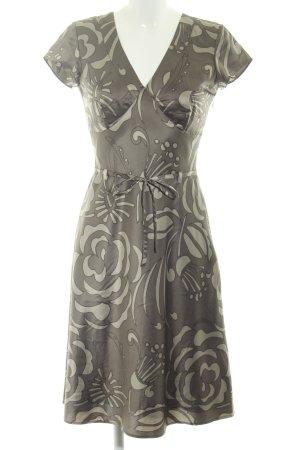 Esprit A-Linien Kleid graubraun grafisches Muster Glanz-Optik