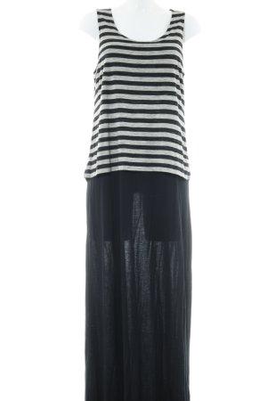 Esprit A-Linien Kleid schwarz-hellgrau Streifenmuster Casual-Look