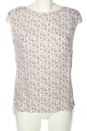 Esprit ärmellose Bluse weiß-pink Allover-Druck Casual-Look