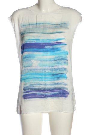 Esprit ärmellose Bluse weiß-blau Motivdruck Casual-Look