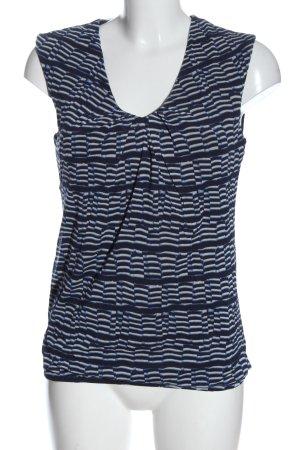 Esprit ärmellose Bluse blau-weiß Allover-Druck Casual-Look