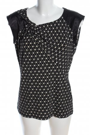 Esprit ärmellose Bluse schwarz-wollweiß abstraktes Muster Casual-Look