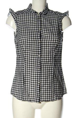 Esprit ärmellose Bluse schwarz-weiß Karomuster Casual-Look