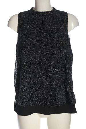 Esprit ärmellose Bluse schwarz-hellgrau Punktemuster Casual-Look
