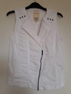 Esprit ärmellose Jeans-Weste weiß mit Reißverschluss im Bikerstil Gr. 36