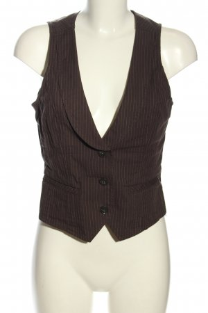 Esprit Gilet de costume brun-blanc imprimé allover style décontracté