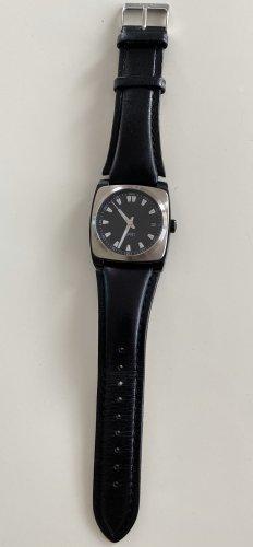 Esprit Reloj con pulsera de cuero negro-color plata