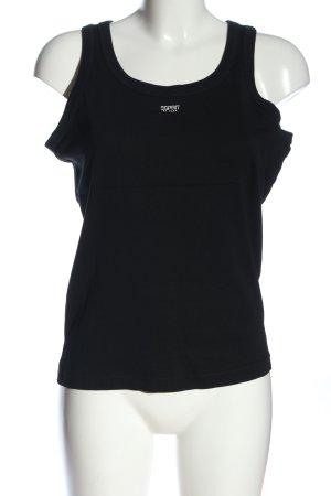 Esprit Basic Top schwarz-weiß Schriftzug gedruckt Casual-Look
