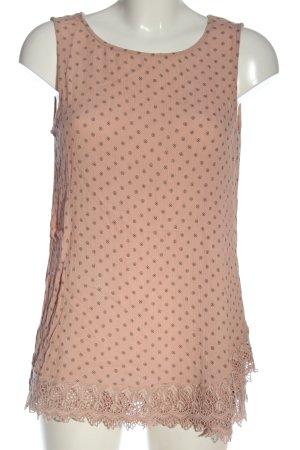 Esprit Basic Top pink-schwarz Allover-Druck Casual-Look