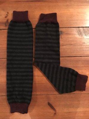 Esprit: Bein-Stulpen, Wadenwärmer, gestreift, schwarz-grau-weinrot, Gr. s