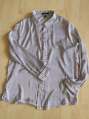 Esprit Połyskująca bluzka biały-stalowy niebieski Poliester
