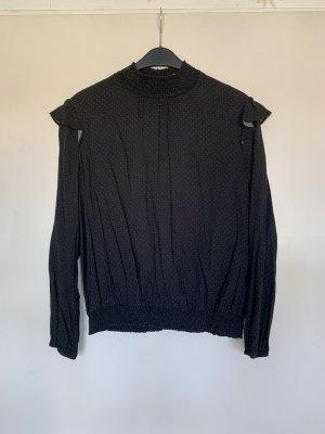 Esprit Bluzka ze stójką czarny-biały