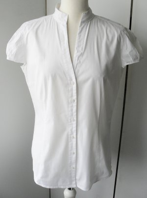 Esprit Blusa de manga corta blanco tejido mezclado