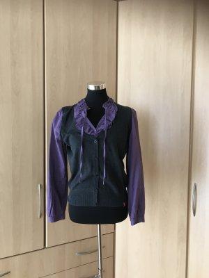 Esprit Bluse im 2-in-1-Look Gr. L lila grau mit Rüschen