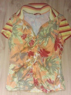 Esprit Bluse S 36 Hawaii Aloha Tiki Stil Orange Bunt Blätter Freundlicher Ton Blumen