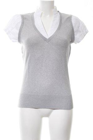 Esprit Empiècement de blouses gris clair-blanc moucheté style d'affaires