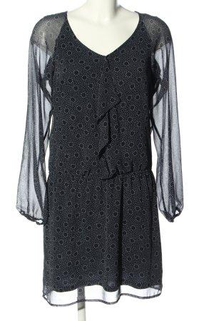 Esprit Blusenkleid schwarz-weiß Allover-Druck Elegant