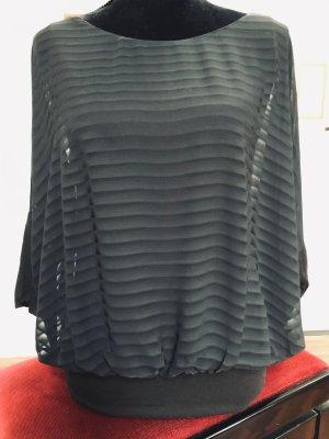 Esprit BlusenShirt mit Fledermausärmeln, schwarz-transparent Gr. M