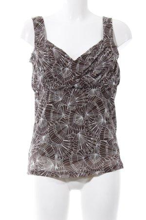 Esprit Blusentop braun-weiß abstraktes Muster Casual-Look