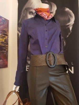 esprit bodybluse purple designer gürtel geflochten leder optik stretch hose taupe oliv small
