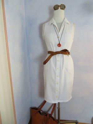 Esprit Buttondown Babykord Struktur Kleid Gr. 36 Jeanskleid Weisses ärmelloses Kord Kleid 80s Vintage