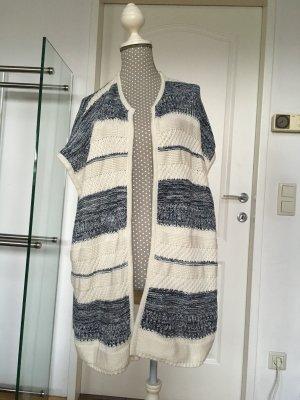 Esprit Jersey de ganchillo blanco-azul Algodón