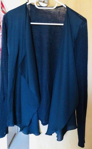 Esprit Cardigan Strickjacke Größe 36 dunkelblau Leinen Satin, wie Neu