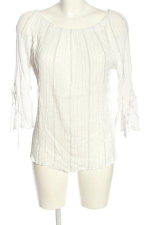 Esprit Carmen blouse wit-lichtgrijs gestreept patroon casual uitstraling